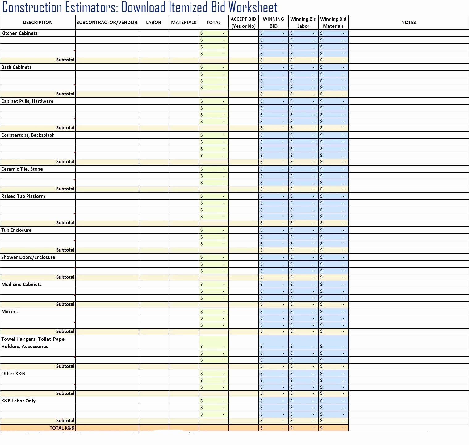 Bid Spreadsheet Intended For Construction Bid Tracking Spreadsheet Unique Free Construction