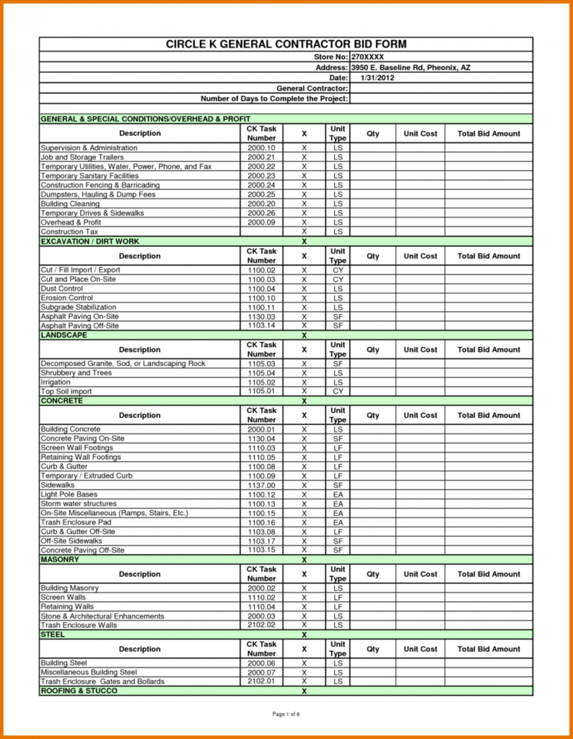 Bid Spreadsheet Throughout 009 Template Ideas Construction Bid Sheet With Spreadsheet Plus