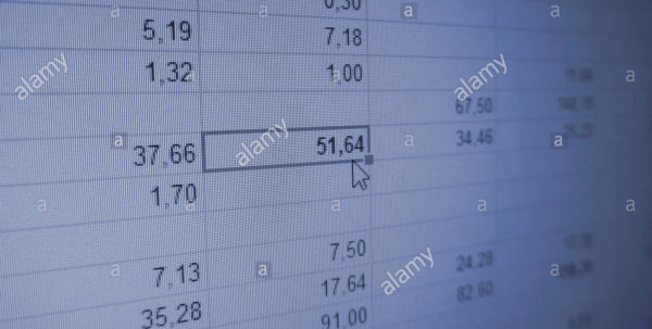 Big Data Spreadsheet Throughout Spreadsheet With Numbers, Columns And Rows. Big Data Stock Photo