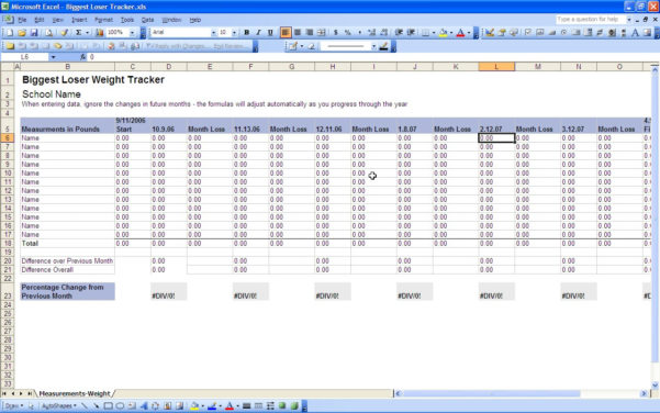 Biggest Loser Weight Loss Calculator Spreadsheet Pertaining To Spreadsheet Example Of Biggest Loser Weight Loss Calculator Tracking