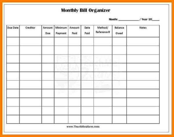 Bill Organizer Spreadsheet In Bill Sheet Template Tracker Budget Spreadsheet Excel 2007 Monthly