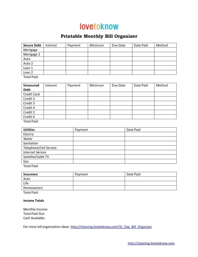 Bill Organizer Spreadsheet Throughout Free Monthly Bill Template Financial Planner Expenses Spreadsheet
