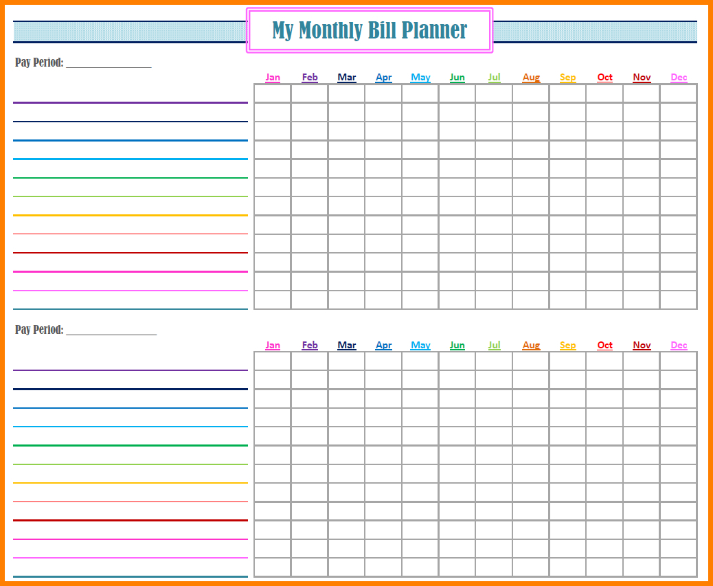 Bill Pay Organizer Spreadsheet For Free Bill Paying Organizer Template Yearly Monthly Printable Excel