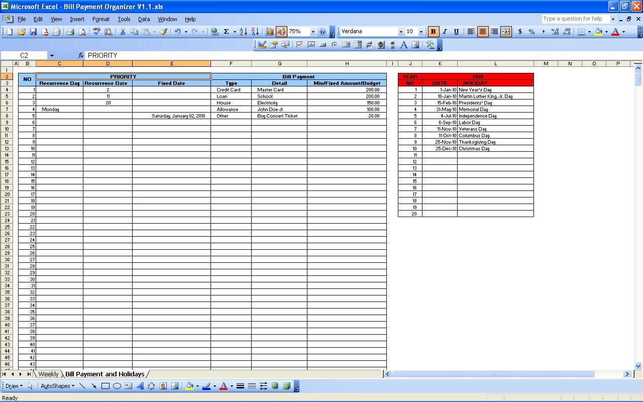 Bill Pay Organizer Spreadsheet Intended For Bill Payment Calendar  Excel Templates