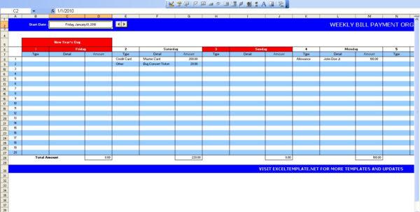 Bill Pay Organizer Spreadsheet With Regard To Bill Payment Calendar  Excel Templates