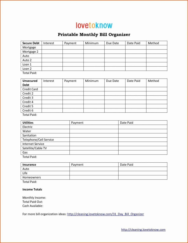 Bill Pay Organizer Spreadsheet Within Free Bill Paying Organizer Template Spreadsheet Monthly Printable