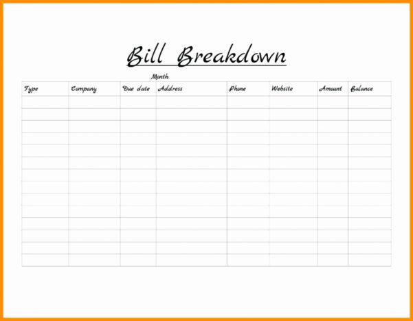 Bill Pay Schedule Spreadsheet Throughout Bill Of Sale Free Monthly Paymplate Schedule Payment Bi Weekly