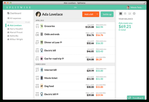 Bill Pay Spreadsheet App For Split Expenses With Friends :: Splitwise