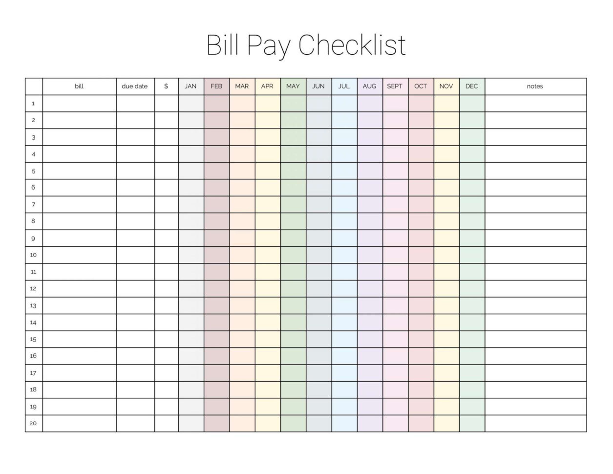 Bill Pay Spreadsheet For Debt Reductiont With Bill Pay Checklist Editable Pdf Of Paying
