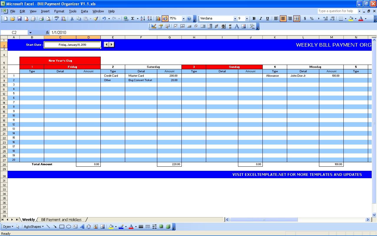Bill Pay Spreadsheet With Bill Payment Calendar  Excel Templates