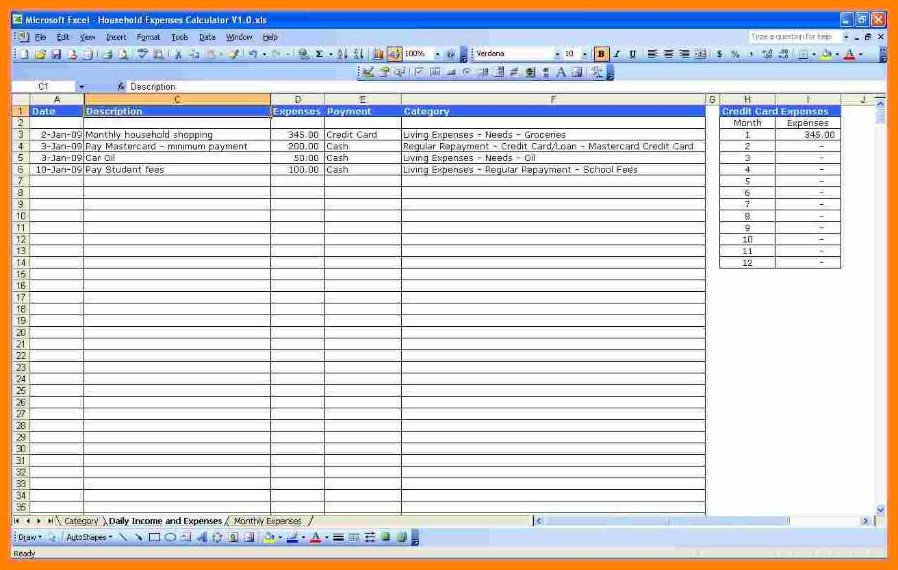Bill Spreadsheet App Regarding 6+ Bill Spreadsheet App  Credit Spreadsheet