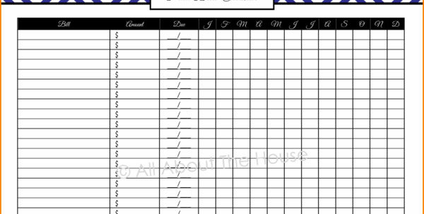 Bill Spreadsheet Pertaining To 6  Free Bill Organizer Spreadsheet  Credit Spreadsheet