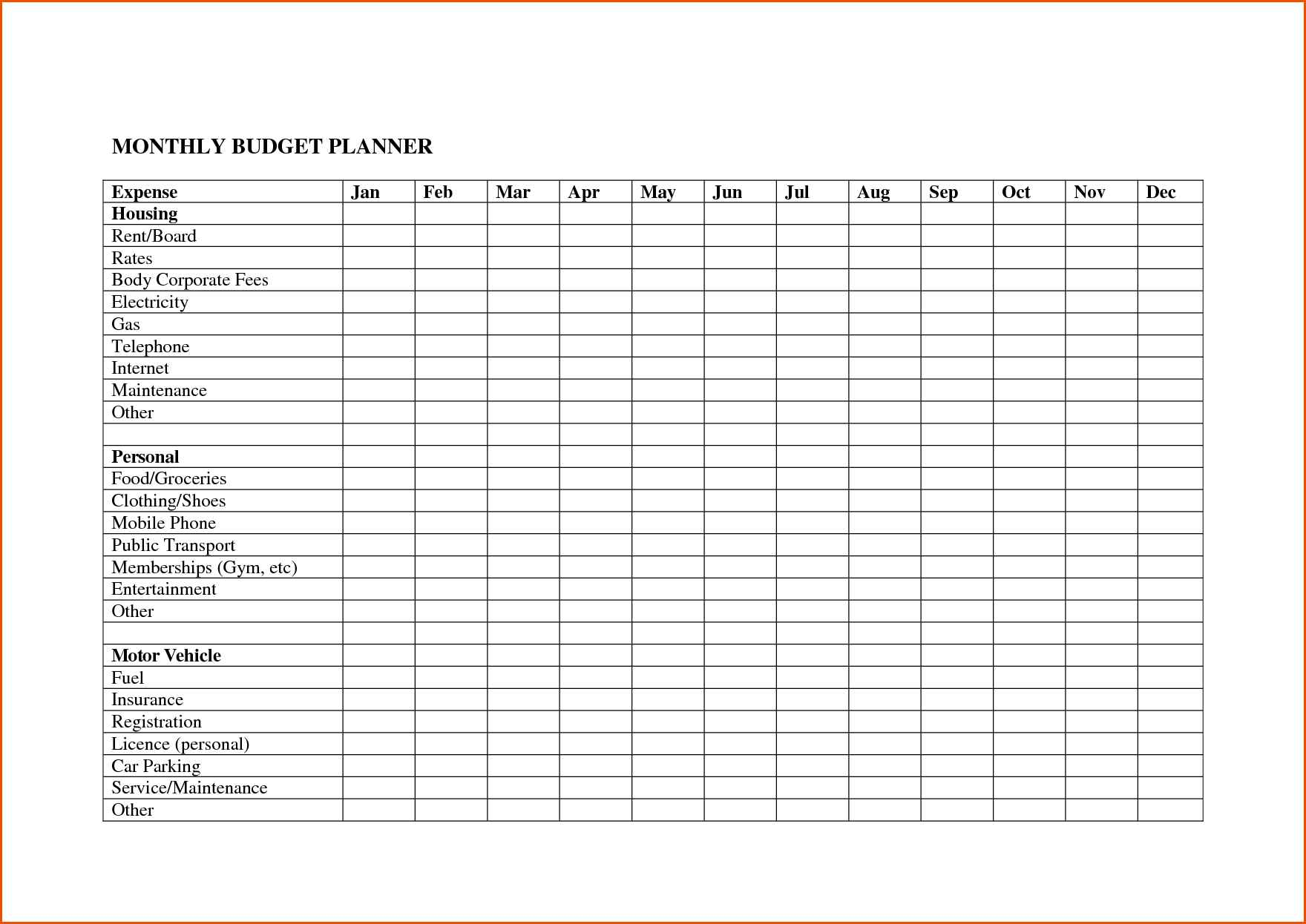 Bill Spreadsheet Template With Regard To Monthly Budget Excel Spreadsheet Template Free With Bill Plus Bills