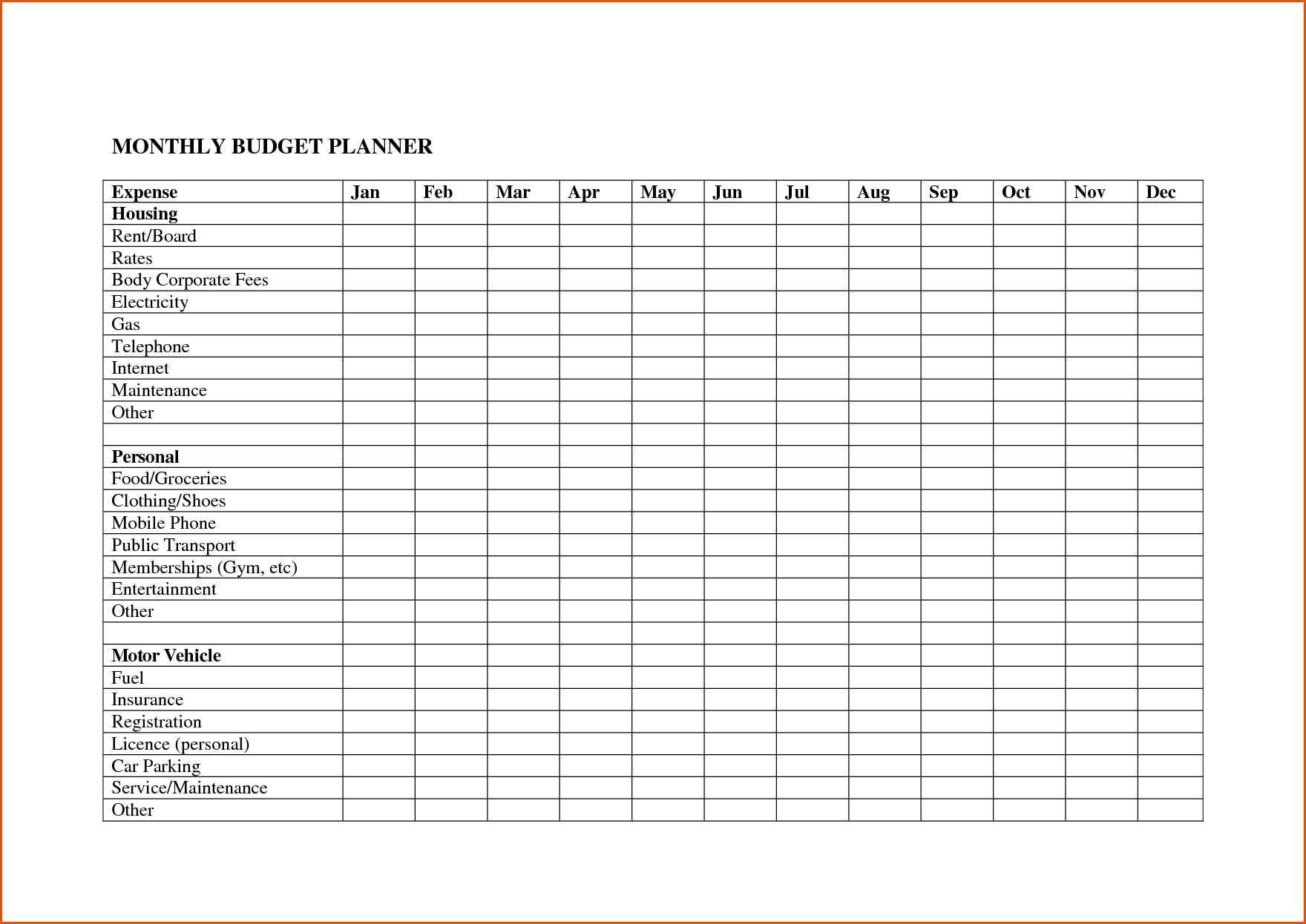 Bill Spreadsheet Template With Regard To Monthly Budget Excel Spreadsheet Template Free With Bill Plus Bills