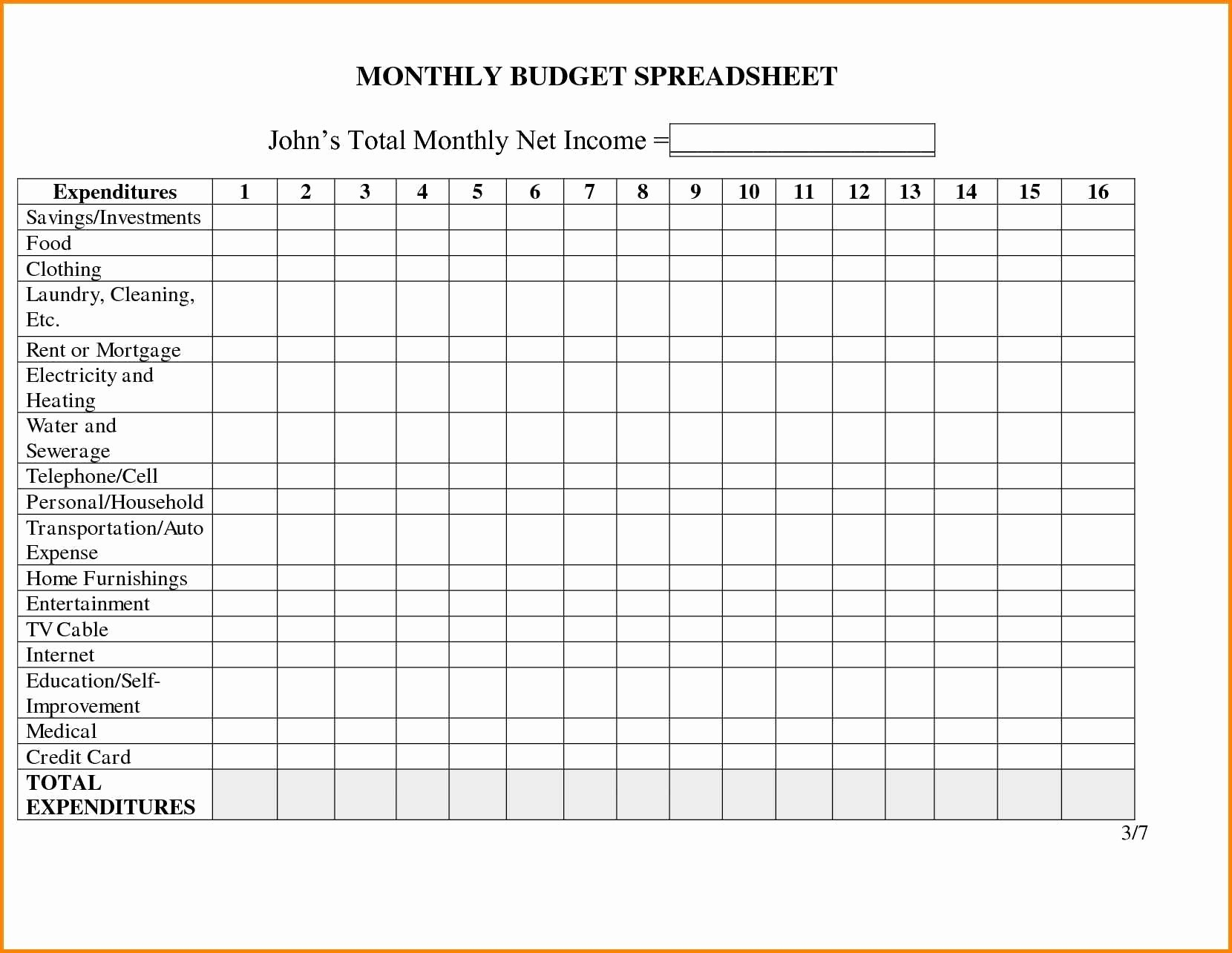 Bill Spreadsheet With Regard To Monthly Bill Spreadsheet Template Free Invoice Budget Excel