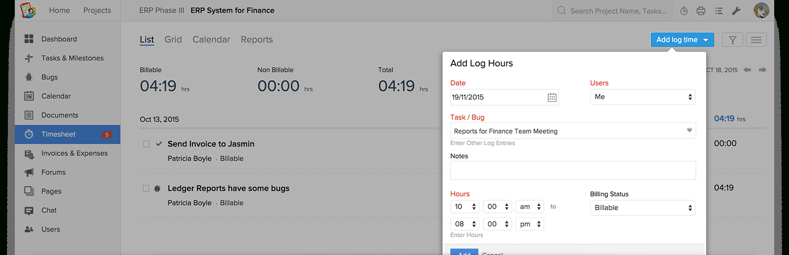 Billable Time Tracking Spreadsheet With Regard To Software To Track Time Spent On Tasks : Zoho Projects