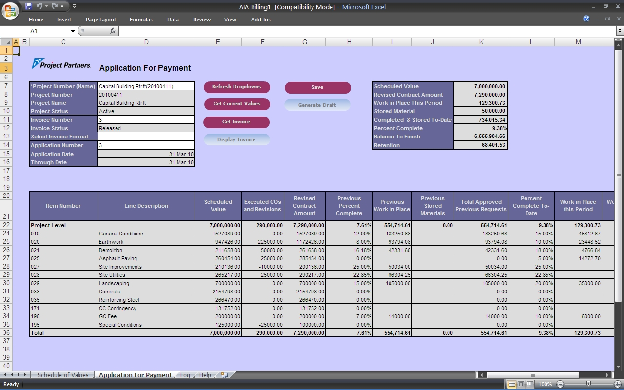 Billing Spreadsheet Inside Aiacompliant Progress Billing Software For Oracle Ebusiness Suite