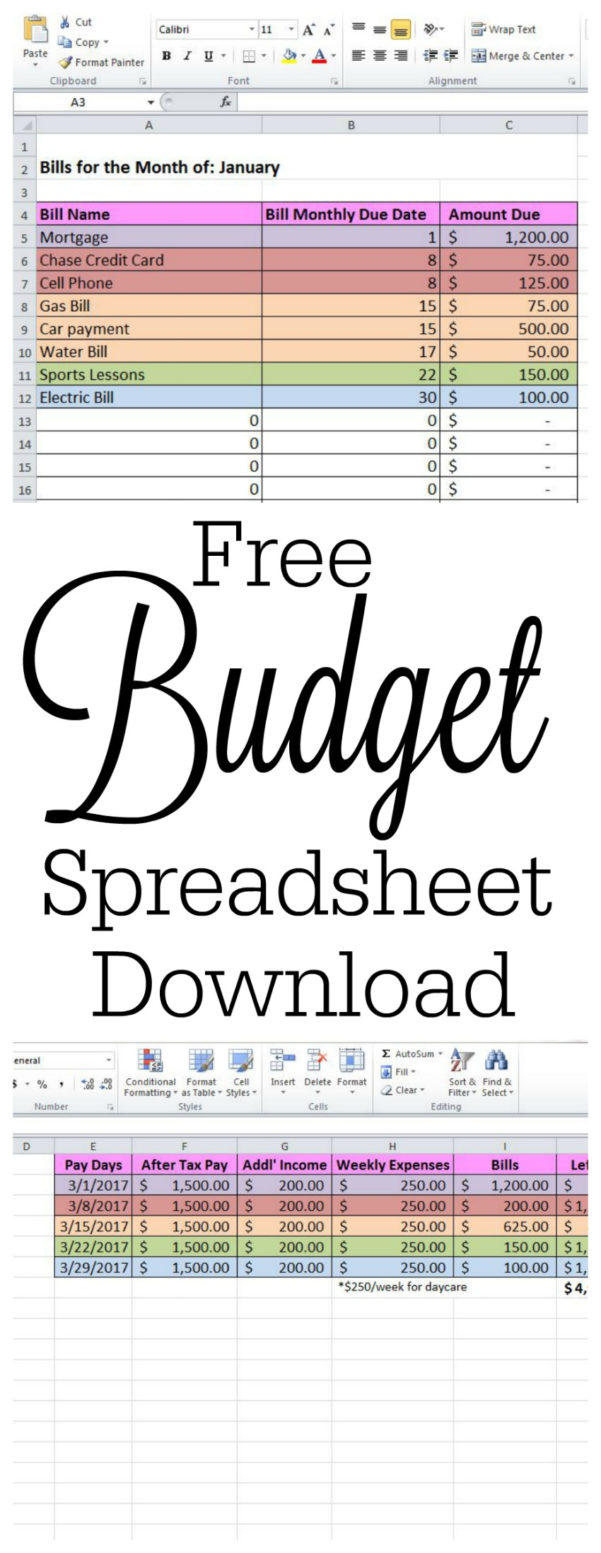 Bills Budget Spreadsheet For Free Budget Spreadsheet And How To Keep Track Of Passwords  The