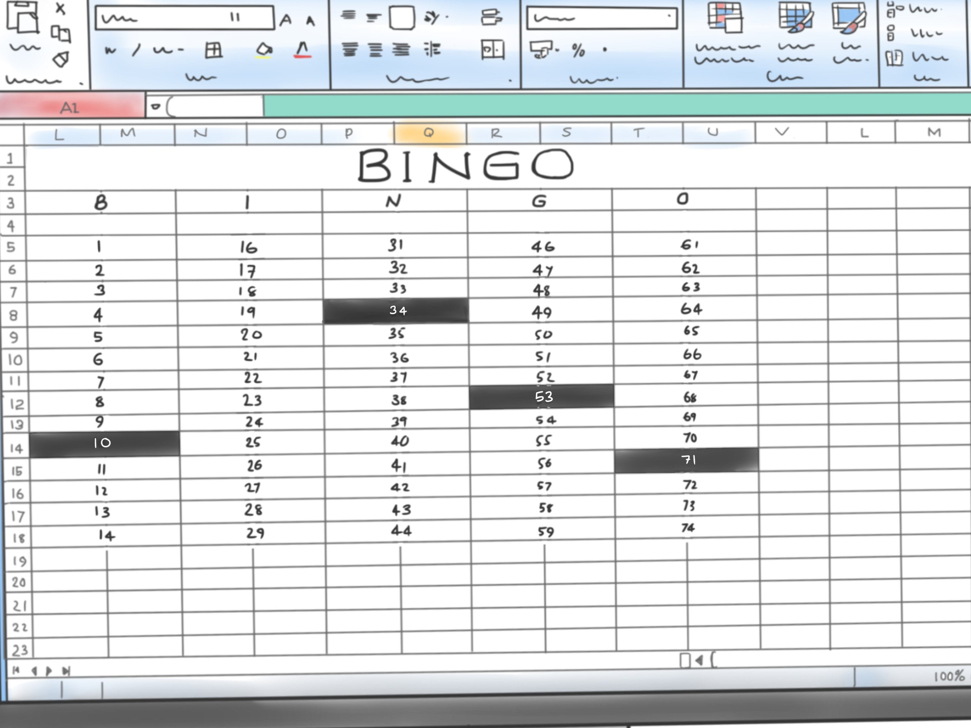 Bingo Spreadsheet Template For How To Make A Bingo Game In Microsoft Office Excel 2007: 9 Steps