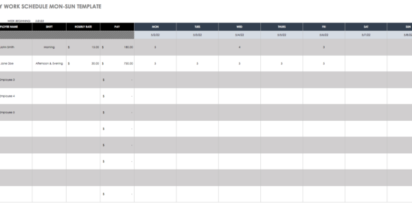 Black Friday 2017 Spreadsheet For Free Work Schedule Templates For Word And Excel