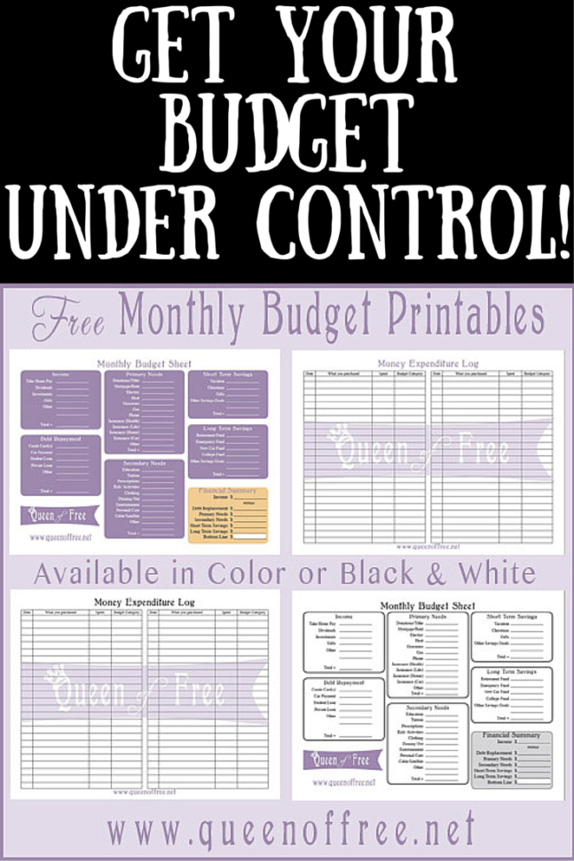 Blank Budget Spreadsheet For Free Printable Budget Worksheet  Queen Of Free