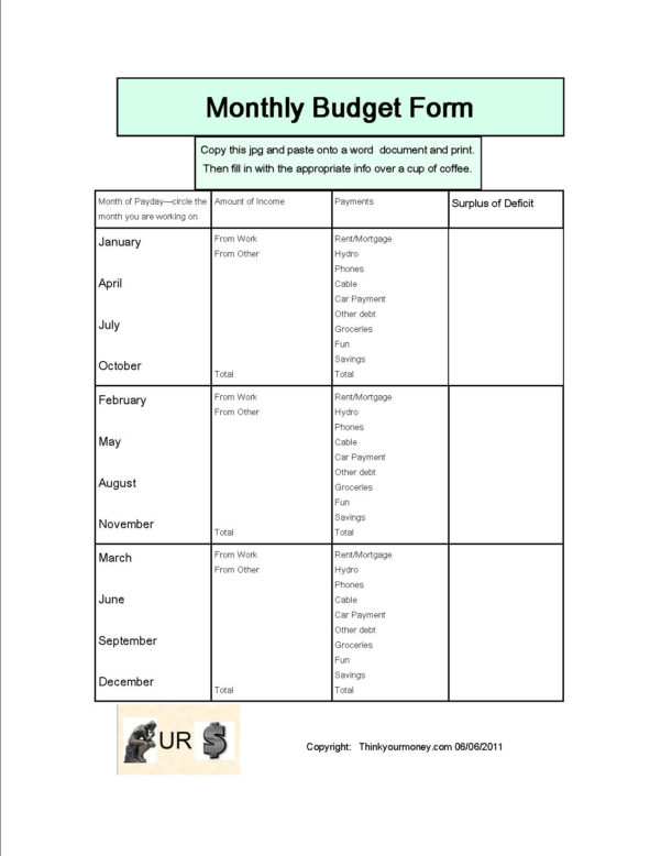 Blank Budget Spreadsheet Intended For Monthly Budget Spreadsheet
