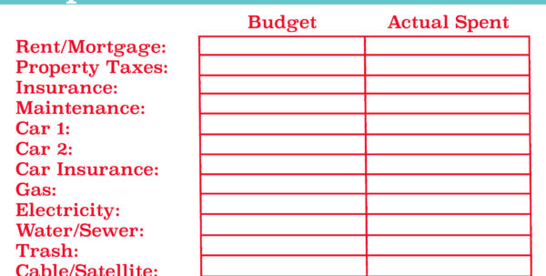 Blank Budget Spreadsheet With Free Printable Monthly Budget Worksheet  Aaron The Artist