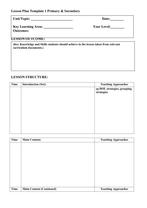 Blank Spreadsheet For Teachers With 44 Free Lesson Plan Templates [Common Core, Preschool, Weekly]
