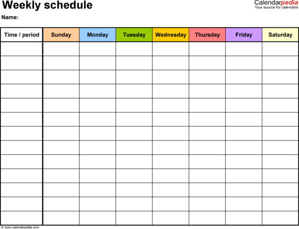 Blank Spreadsheet For Teachers Within Free Weekly Schedule Templates For Excel  18 Templates