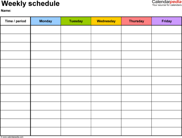 Blank Spreadsheet Pdf Regarding Free Weekly Schedule Templates For Excel  18 Templates