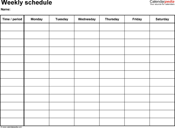 Blank Spreadsheet Pdf Within Free Weekly Schedule Templates For Excel  18 Templates