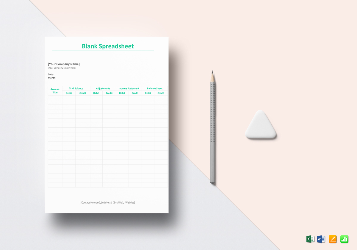Blank Spreadsheet With Blank Spreadsheet Template In Word, Excel, Apple Pages, Numbers