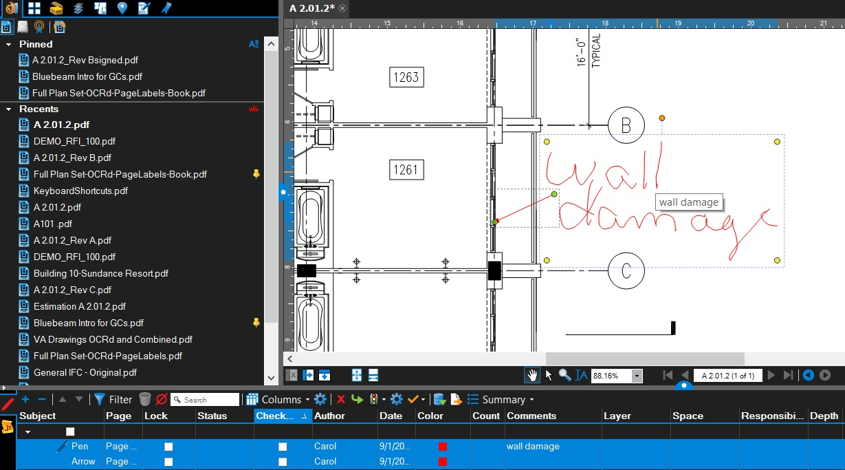 Bluebeam Spreadsheet Throughout Bluebeam Tips  Carol's Construction Technology Blog