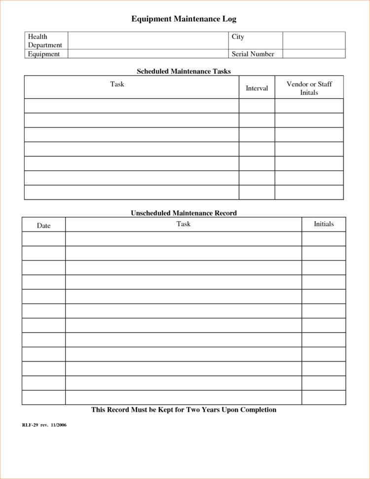 Boat Maintenance Spreadsheet Regarding Equipment Maintenance Log Template  Charlotte Clergy Coalition
