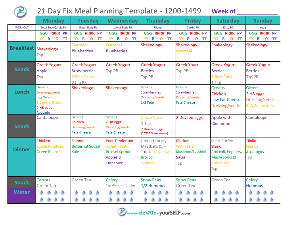 Body For Life Meal Plan Spreadsheet Throughout 21 Day Fix Meal Plans  Elevate Yourself