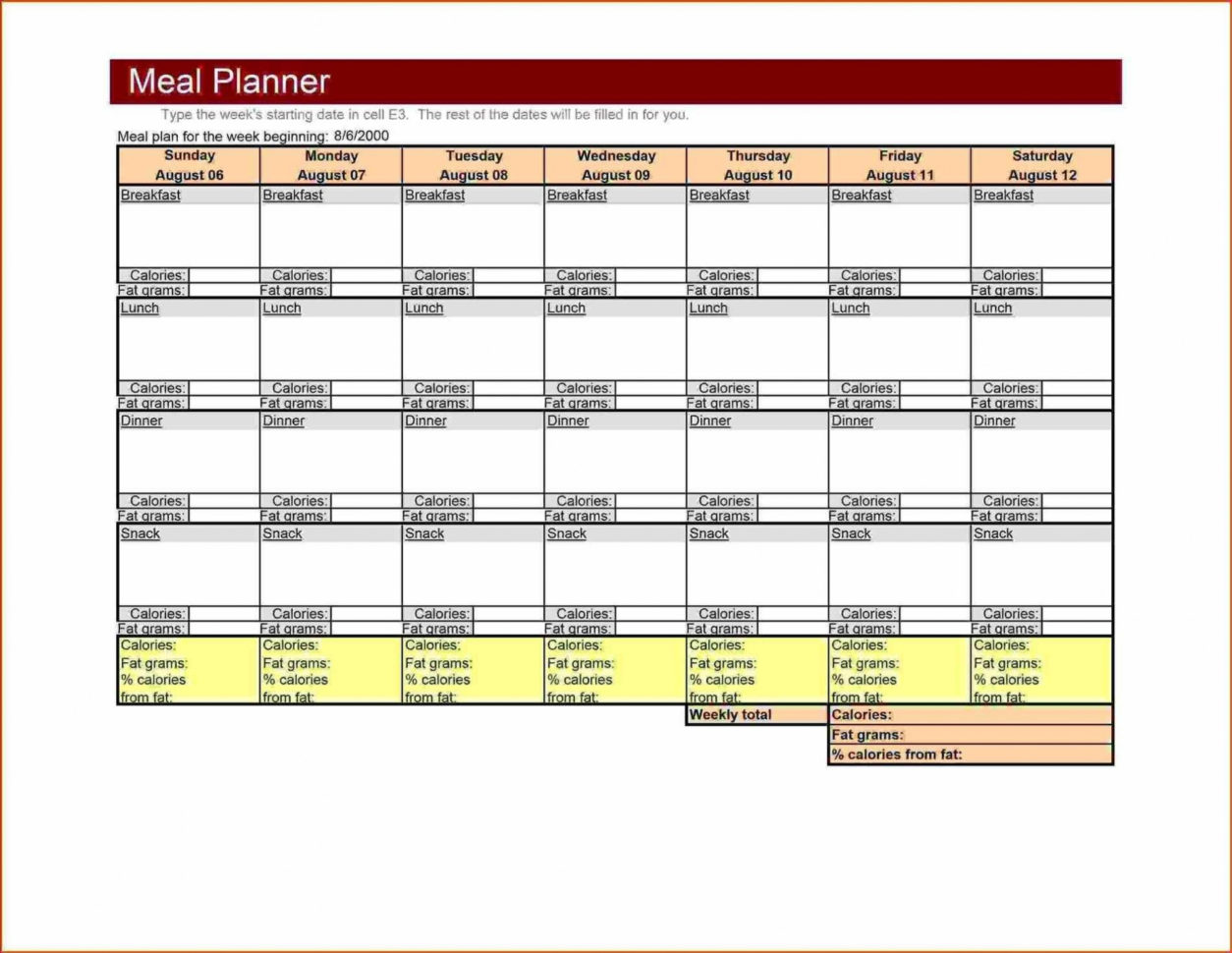 Bodybuilding Meal Plan Excel Spreadsheet With Regard To 014 Mealning Template Excel Free ~ Tinypetition