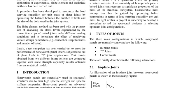 Bolted Joint Analysis Spreadsheet In Pdf Optimization Of Bolted Joints Connecting Honeycomb Panels