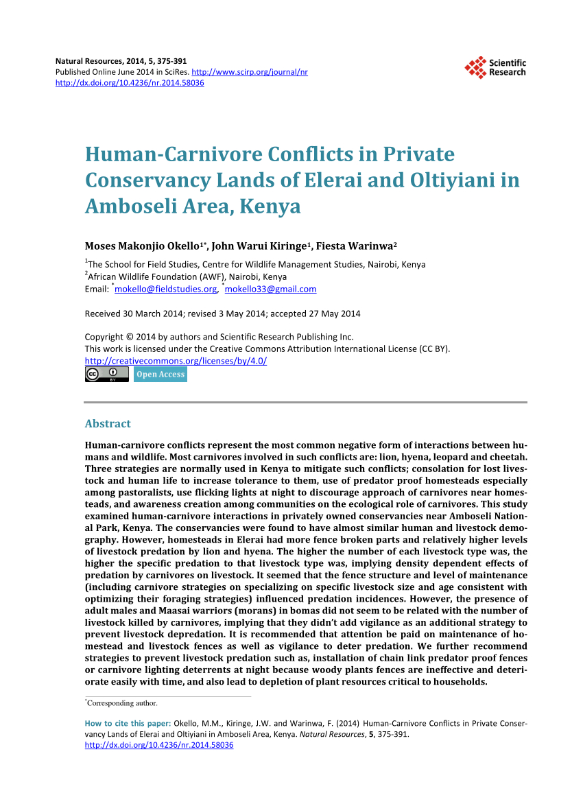 Boma 2010 Spreadsheet For Pdf Humancarnivore Conflicts In Private Conservancy Lands Of