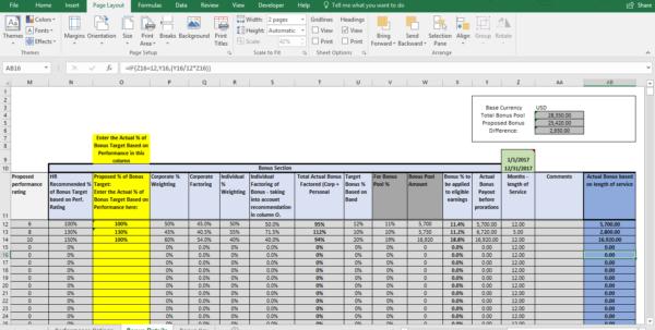 bonus spreadsheet template