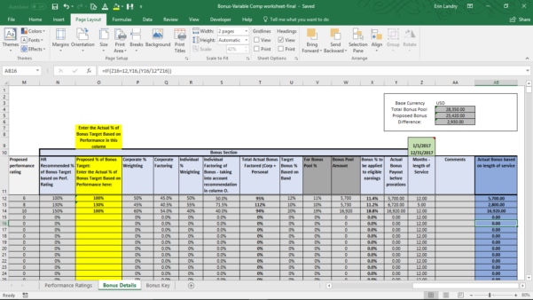 Bonus Spreadsheet Template With Variable Compensation Plan Template