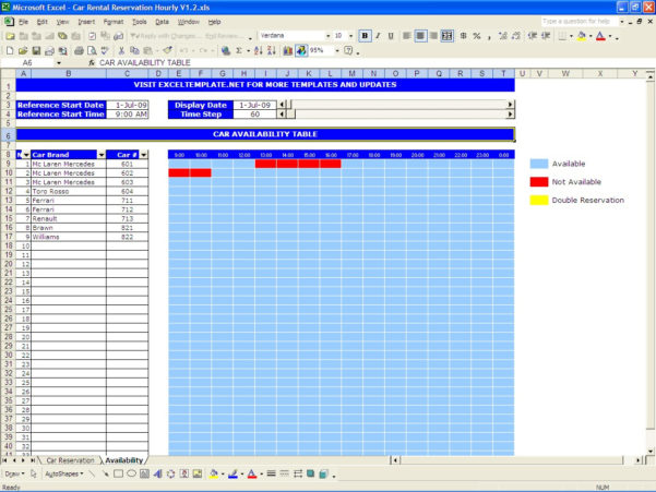 Booking Spreadsheet Template In Car Rental Reservations Excel Templates Sheet Carhourly2 Reservation