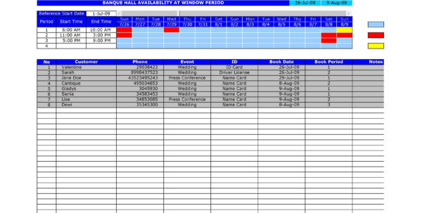 Booking Spreadsheet Template Pertaining To Free Hall Reservation Template