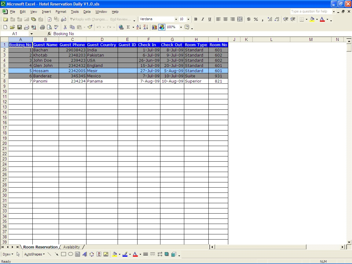 Booking Spreadsheet Template Within Hotel Reservations  Excel Templates