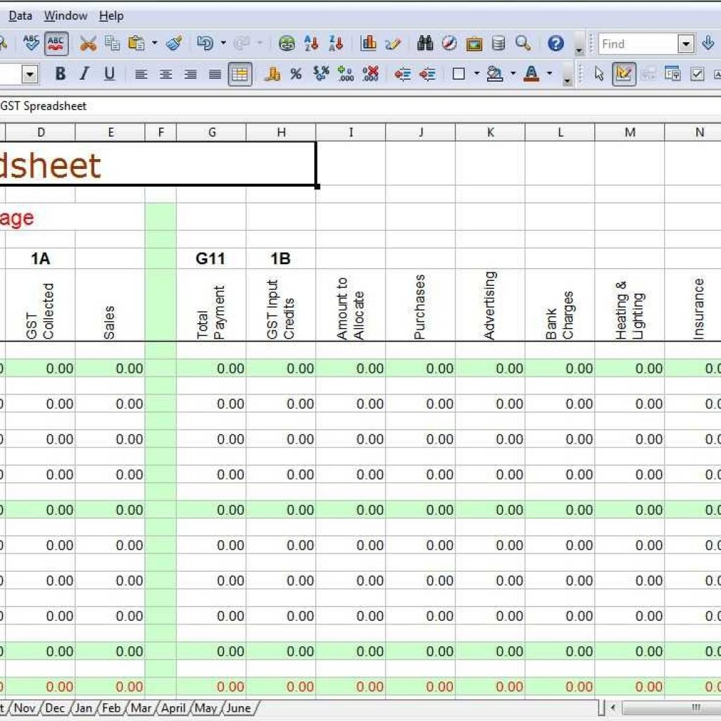 Bookkeeping Spreadsheet Example Regarding Bookkeeping Spreadsheets For Excel  Laobingkaisuo In Accounting