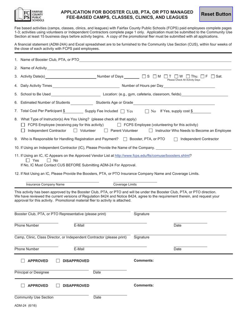 Booster Club Financial Spreadsheet Throughout Adm24  Fairfax County Public Schools