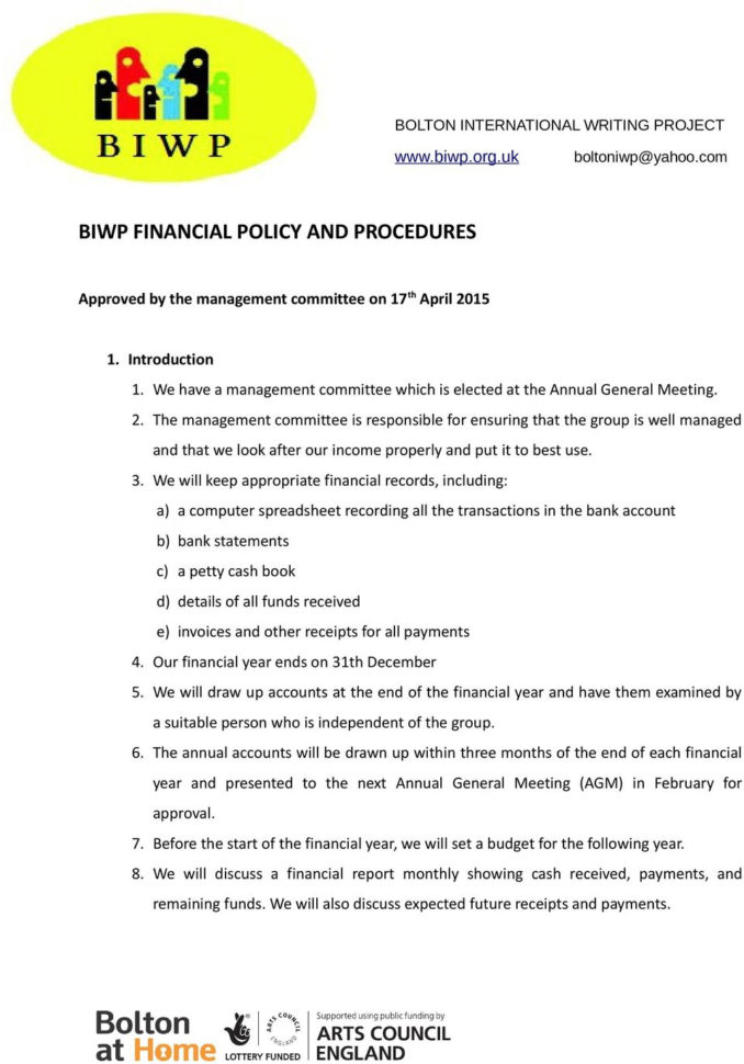 Booster Club Financial Spreadsheet With Regard To Biwp Financial Policy And Procedures  Pdf