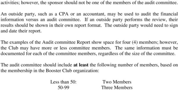 Booster Club Financial Spreadsheet Within Booster Club And Exempt Organizations Audit Committee General