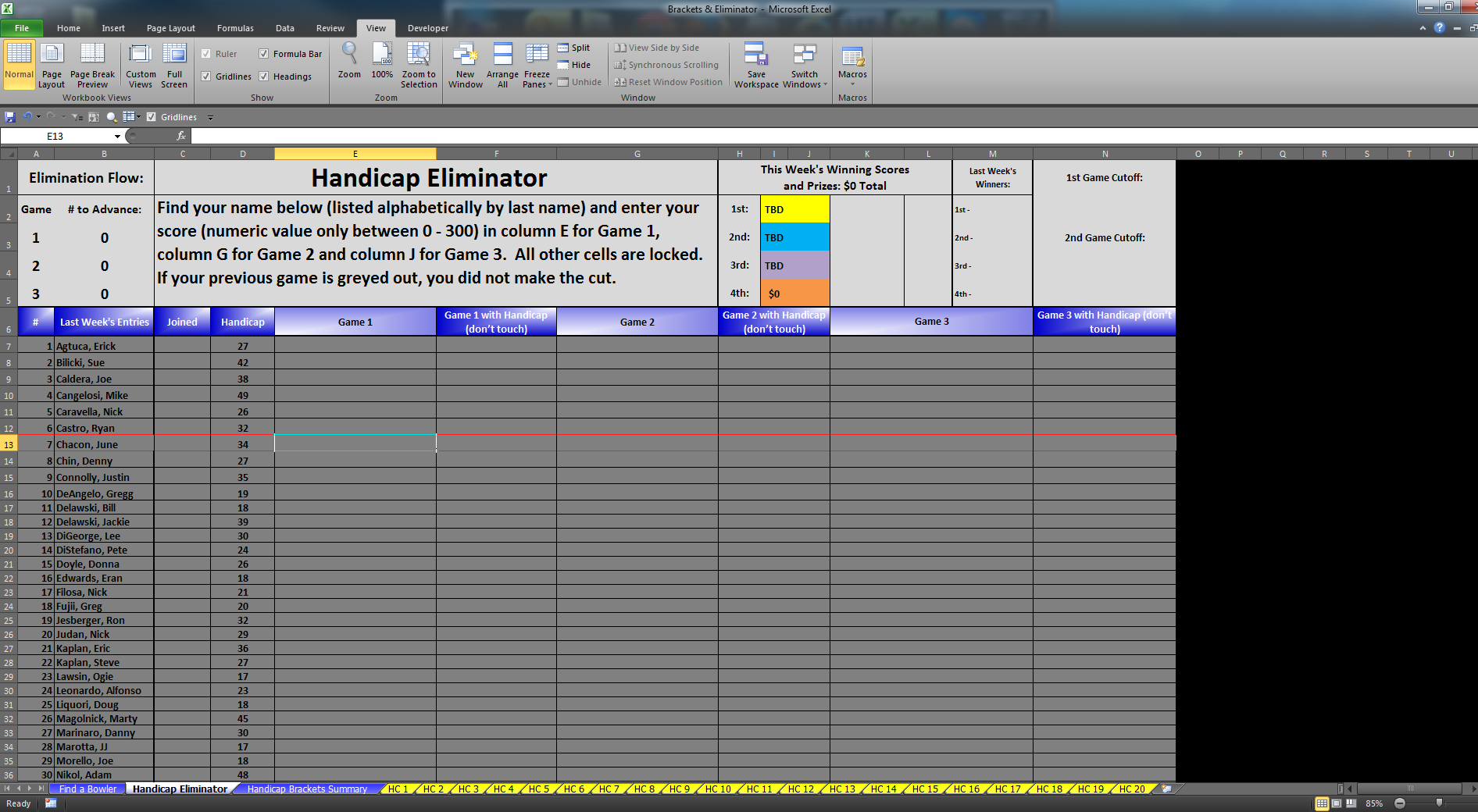 Bowling Handicap Spreadsheet Pertaining To Eliminator  Bracket Excel Software For Sale!  For Sale/wanted