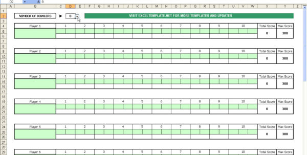 Bowling League Spreadsheet Pertaining To Bowling Score Sheet  Excel Templates
