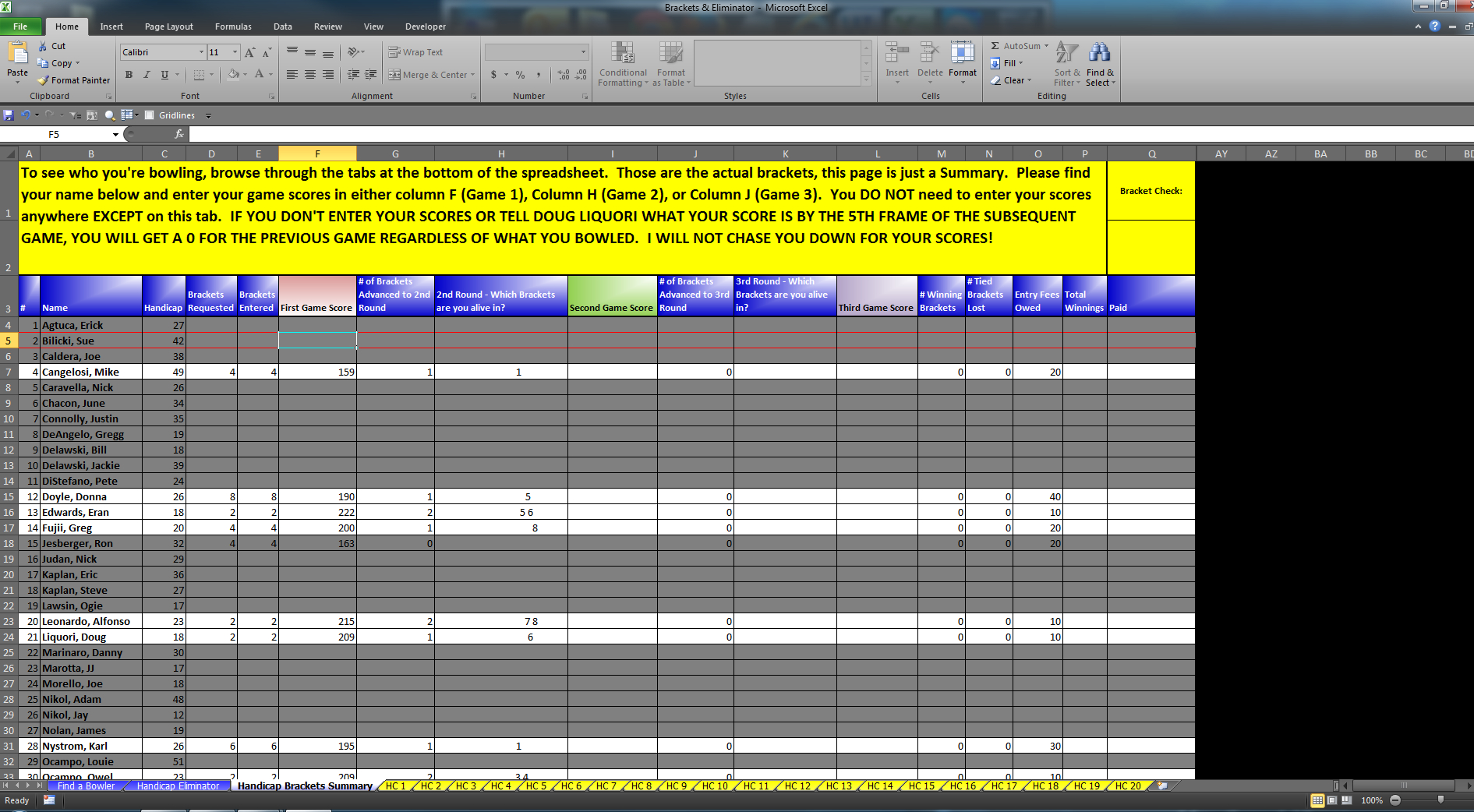 Bowling Prize Fund Spreadsheet Inside Eliminator  Bracket Excel Software For Sale!  For Sale/wanted
